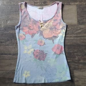 Vintage One World Apparel Floral Beaded Tank Top